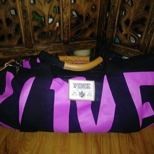 LOVE PINK Victoria's Secret Pink & Black Gym bag